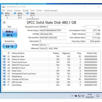 Dysk SSD SATA 480 GB 500 3600h prawie nowy TANIO