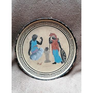 Stary ozdobny talerz grecki scena z mitologii