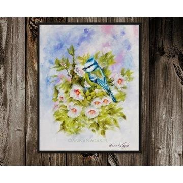 Sikorka Obraz do Pokoju Dziecka Ręcznie Malowany