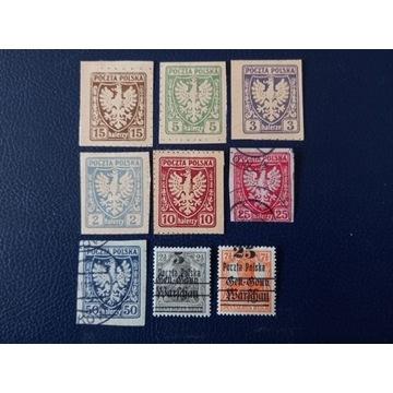 Zestaw starych Polskich znaczków 9 sztuk