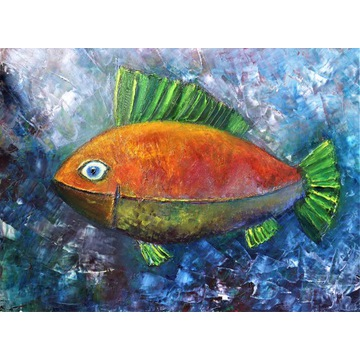 Ablewicz  Ryba Zielona Płetwa Obraz Abstrakcja