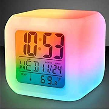 BUDZIK ZEGAREK TERMOMETR Świecący KAMELEON LED