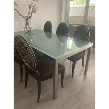 Stół stalowo szklany