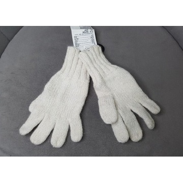 Rękawiczki NOWE  2-4 L H&M 98/104 ecru ze srebrem