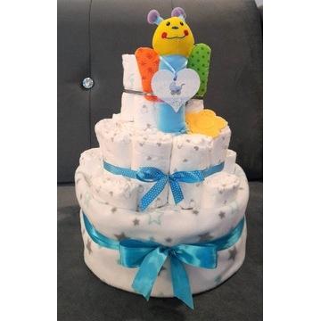 Tort z pampersów tort z pieluch Handmade wyprawka