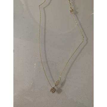 Naszyjnik YES srebrny pokryty żółtym złotem