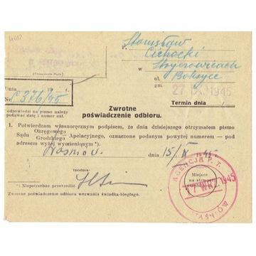 Waśniów (Opatów) - stempel prowizoryczny z 1945 r.