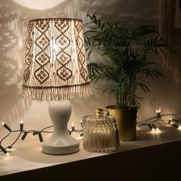 Pleciona lampa, lampka nocna, hand made, makrama
