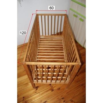 Łóżeczko dziecięce drewniane regulowane 120x60