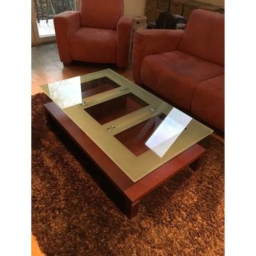 Elegancka ława stolik kawowy mahoń szkło hartowane