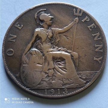 1 Pens z 1913 roku, Anglia, ładnie zachowana