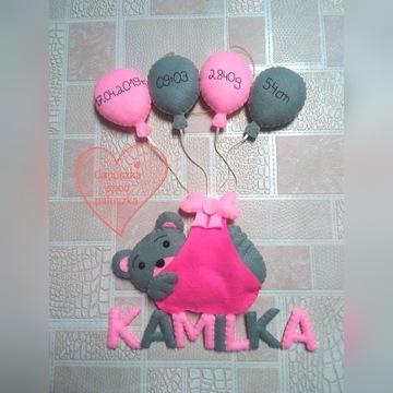 Metryczka miś z balonami