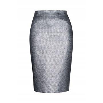 PATRIZIA ARYTON, spódnica ołówkowa, 36, S, srebrna