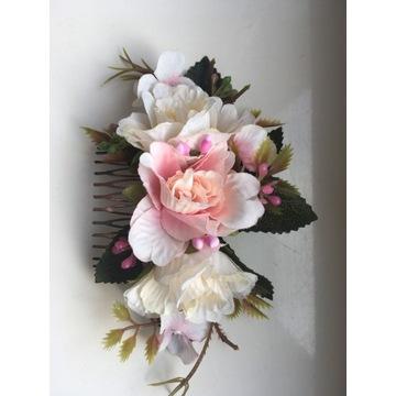 Grzebyk do włosów, róże, ślub