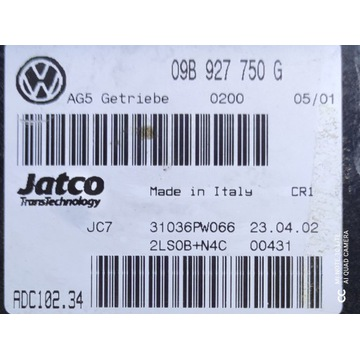 STEROWNIK SKRZYNI AUTOMAT SHARAN 2.8 V6 09B927750G