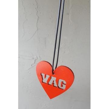 Zawieszka VAG SERCE* sklejka 3mm, sznurek, love *