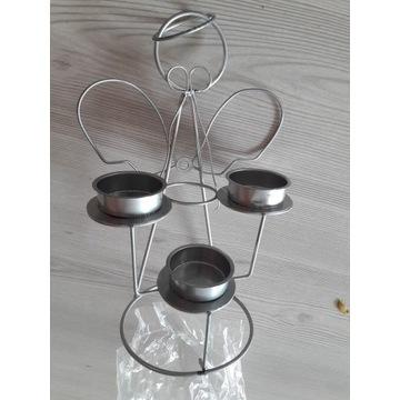 Świecznik metalowy Anioł na 3 tealight podgrzewacz