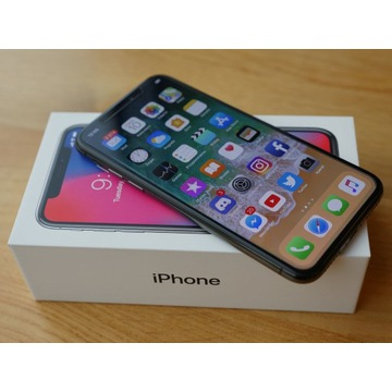 IPhone X 256 GB  Czarny, komplet i  stan SALONOWY