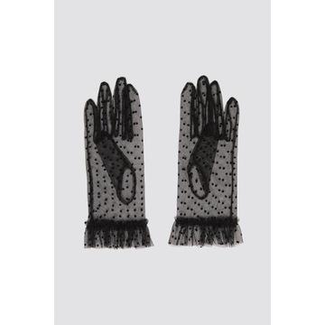Eleganckie rękawiczki ZARA czarne plumeti (M)