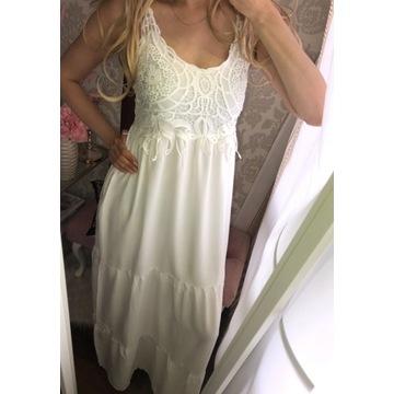 Cudo sukienka maxi biała boho styl LV zara cc !