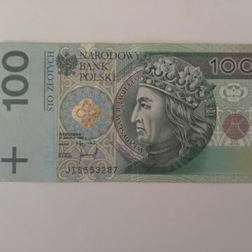 BANKNOT 100 PLN Z NUMEREM 555