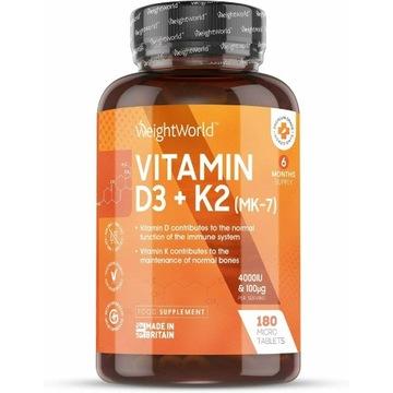 Witamina D3 4000IU K2 MK7 180 Tabletek WEIGHTWORLD