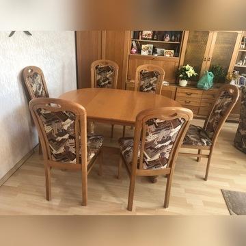 Drewniany stół + krzesła jasna olcha