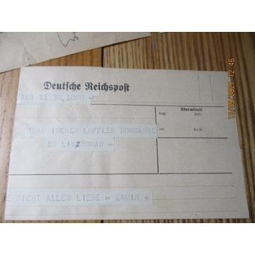 telegram DEUTSCHE REICHSPOST WIEN Wiedeń Linz