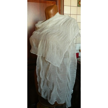 SZAL szalik delikatny drapowany elastyczny biały