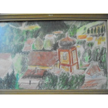 Beskidzka cerkiew - pastel sygnowana