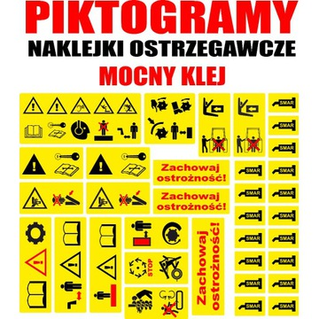 Piktogramy naklejki ostrzegawcze duży zestaw