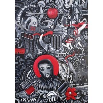 """Obraz na płótnie """"chaos 26"""" akrylowymi farbami"""
