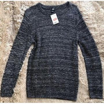 sweter męski, rozm. S, h&m, czarny melanż, basic