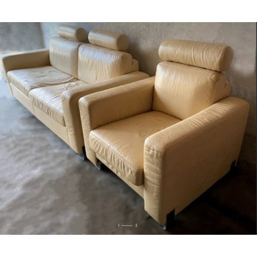 Sofa rozkładana plus fotel. Skóra cieleca. Łódź