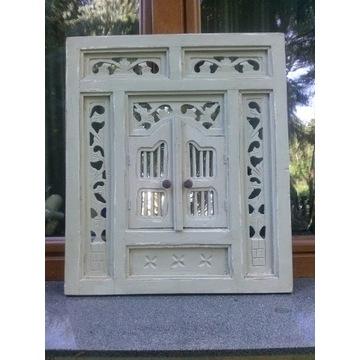 Lustro okiennica drewniane retro Indonezja 80x60
