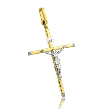 Złoty Krzyż Jezus Chrystus 585 14k KOMUNIA !