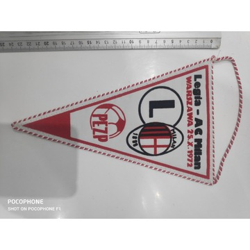 Proporczyk Legia Warszawa - AC Milan 1972