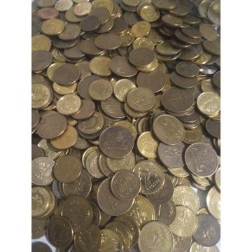 Monety obiegowe 1,2,5 groszy 100kg. Tysiące sztuk.