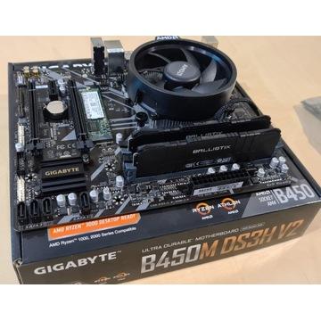 Gigabyte B450, Ryzen5 1600AF, 16GB, SSD128GB, zasi