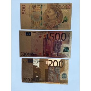 Banknoty ZŁOTE 3 szt.