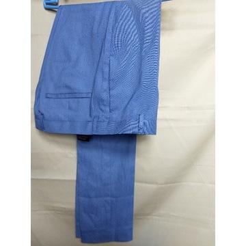 H&M niebieskie spodnie w kant skinny fit