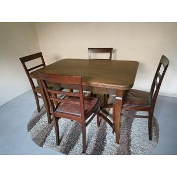 Stół  i 5 krzeseł z lat 1930-40,antyk.