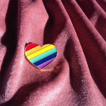 serce tęcza lesbijka gej pin WSPIERAMY FUNDACJĘ
