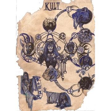 KULT CCG ręcznie rysowana mata BLUE ANIOŁ ŚMIERCI