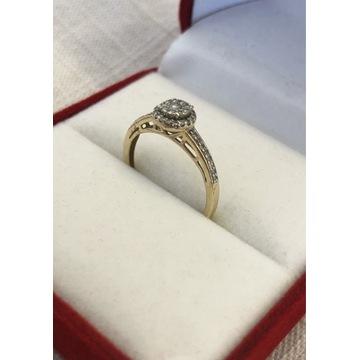 Złoty pierścionek z 44 brylantami roz. 11