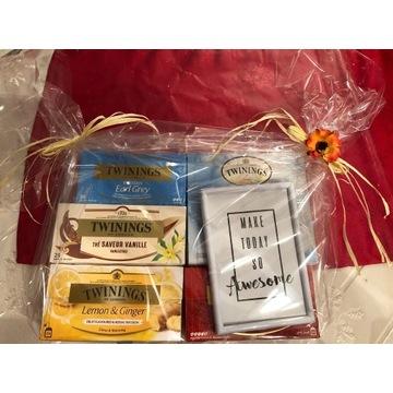 Zestaw zestaw Herbat Twinings + ramka + mini miód