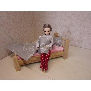 łóżko drewniane z pościelą dla lalek do 30 cm
