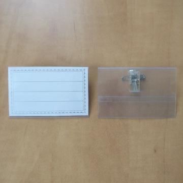 Identyfikator etui holder ×2 z klipsem i agrafką