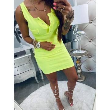 sukienka prążek limonka S