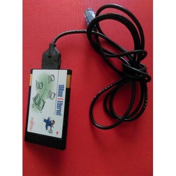 Karta PCMCIA Lan Fujitsu  z dongle wtyczką